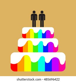 Wedding cake with gay couple on top. Rainbow colors. Flat vector design.