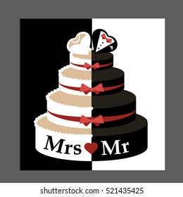 Wedding cake groom and bride. Wedding cake with hearts vector/illustration. Wedding cake with white and dark chocolate decorated with red ribbons. Stag and hen party