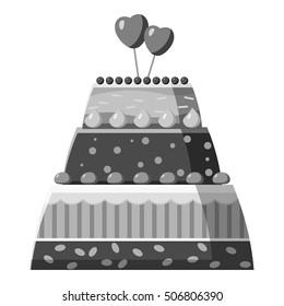 Wedding cake icon. Gray monochrome illustration of wedding cake vector icon for web