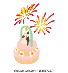 Wedding cake icon. Isometric illustration of wedding cake vector icon for web
