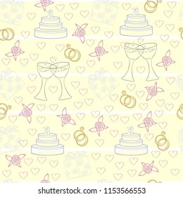wedding cake rings roses hearts champagne glasses yellow pink