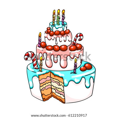 Cake With Sweets Birthday Cartoon