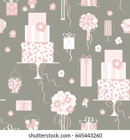 Wedding cake, sweets, gifts and flowers. Vector pattern