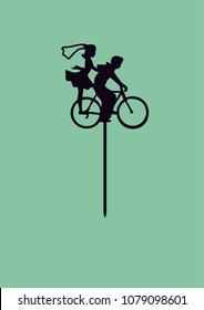 "Wedding cake topper ""Couple on bycicle"""