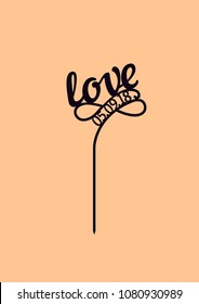 """Wedding cake topper """"Love"""" with date"""