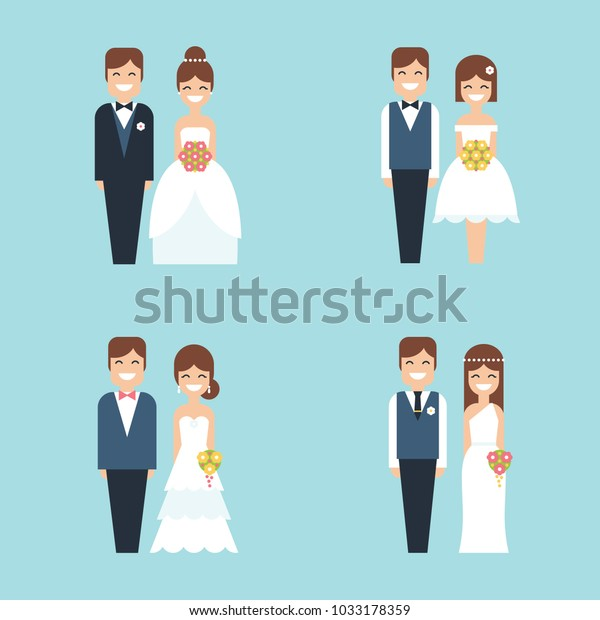 Wedding Cake Toppers Funny Smiling Cartoon Stock Vector