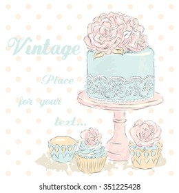 Wedding cake vector . Watercolor. Vintage . Vector illustration for greeting card, poster, or print on clothes.