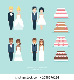 Wedding cakes and figurine toppers flat vector icon set