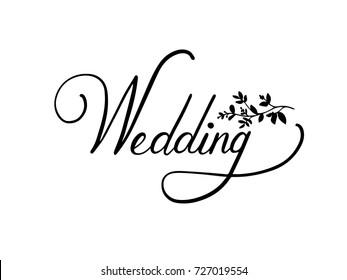Wedding Calligraphy Hand Lettering Vector.