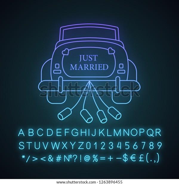 Wedding Car Rental Neon Light Icon Stock Vector Royalty