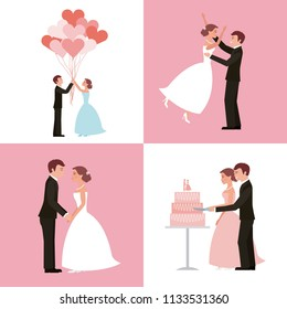 wedding card bride and groom set