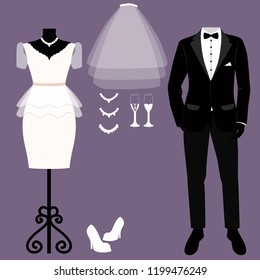 Wedding card with the clothes of the bride and groom. Wedding set. Beautiful wedding dress and tuxedo. Vector illustration.