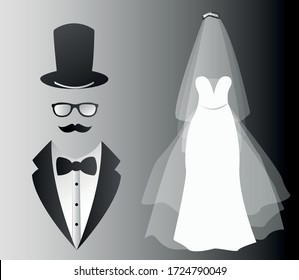 Wedding card with the clothes of the bride and groom. Clothing. Wedding set. Beautiful wedding dress and tuxedo. Vector illustration.