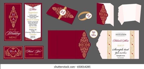 Wedding card collection - menu, invitation, table cards. Templates with gold patterned and crystals.