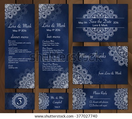 Wedding Card Collection Save Date Menu เวกเตอร์สต็อก (ปลอดค่า