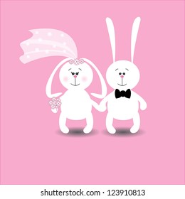 Wedding card with cute cartoon rabbits in love. Vector illustration. Greeting card or invitation.