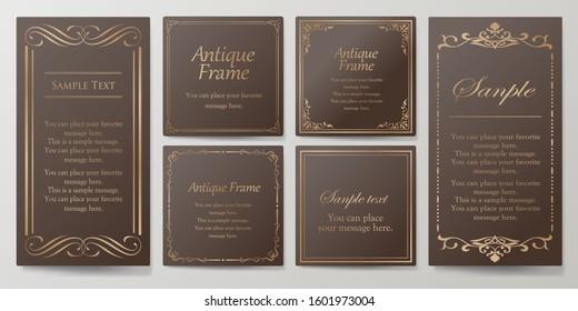 Wedding card design, beautifully decorated card design, antique patterned frame design