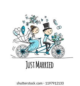 Wedding card design. Bride and groom riding on bicycle