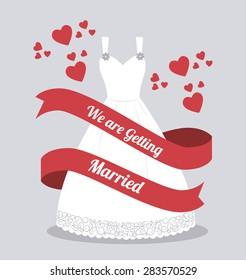 Wedding card design over white background, vector illustration.