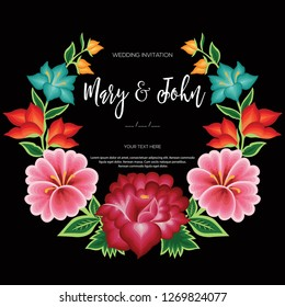 Wedding Card. Embroidery Style from Oaxaca, Mexico - Floral Composition – Copy Space