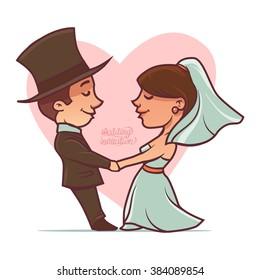 wedding card, funny vector illustration, for design, wedding invitation, cartoon character, happy couple