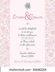wedding card with gentle summer design - postcard with the invitation