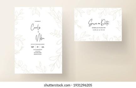 Wedding card with gold leaf ornament