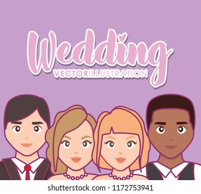 wedding card with group of couples