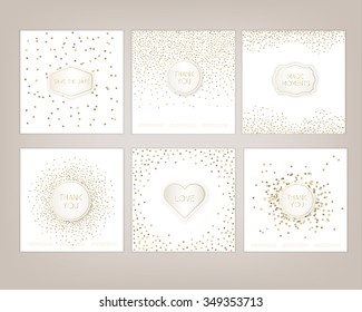 Wedding card hand drawn vector card collection, card template for invitation, greeting, party, wedding, save date, Christmas. Logo collection and identity elements. Love, thank you