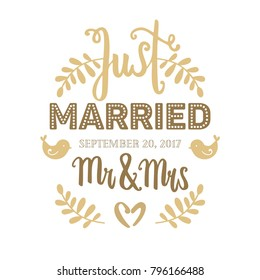 Wedding card hand drawn vector golden lettering with plants, birds and hearts. Just married, Mr & Mrs. Elegant design elements for postcards, posters, banners and celebration prints