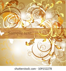 Wedding card or invitation with abstract floral background. Greeting card in grunge or retro style