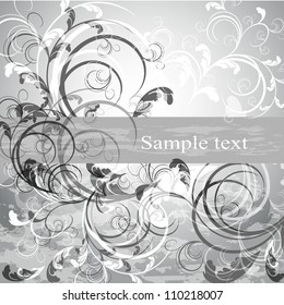Wedding card or invitation with abstract floral background. Greeting card in grunge or retro style. Design valentine card.