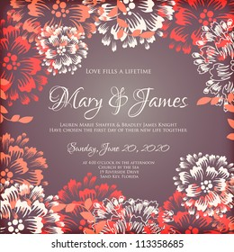 Wedding card or invitation with abstract floral background. Greeting card in grunge or retro style. Elegance pattern with flowers roses, floral illustration in vintage style Valentine Classic romantic