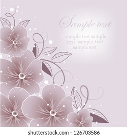 Wedding card or invitation with abstract floral background. Abstract greeting card.