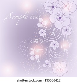 Wedding card or invitation with abstract  floral background. Elegant  floral illustration in vintage style