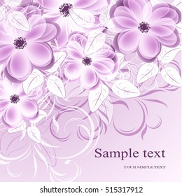 Wedding card or invitation with abstract floral background. Elegance background with flowers. Abstract greeting card.