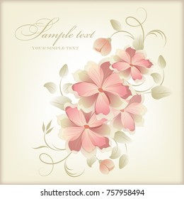 Wedding card or invitation with abstract floral background. Elegance pattern with flowers. Abstract greeting card. Greeting card in grunge or retro style.