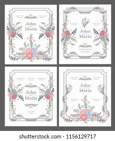 wedding card invitation with beauty flowers.