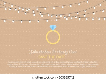 Wedding Card Invitation with diamond ring in Vector
