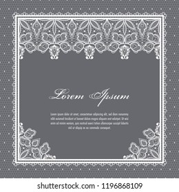 Wedding card or invitation template with a filigree lace floral pattern