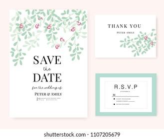 wedding invitation card template text flower のベクター画像素材