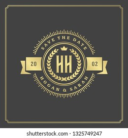 Wedding card or invitation template. Wedding save the date title vintage typographic badge. Vector illustration.