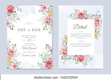 wedding card with ornament flowers and leaves