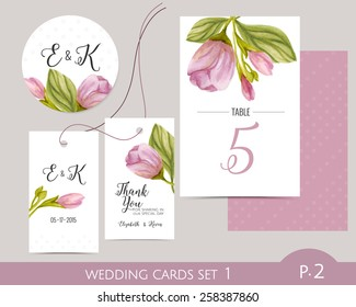 Wedding card set with watercolor flowers. Wedding label. Wedding favor gift tag. Table number. Wedding cards template.