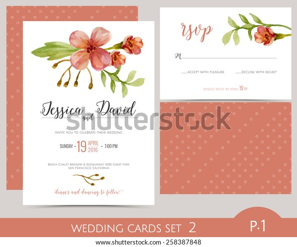 Wedding Card Set Watercolor Flowers Wedding Stock Image Download Now