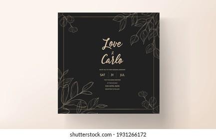 Wedding card with spring leaf ornament
