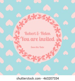 Wedding card template decorated cute pattern with floral frame. Vector illustration