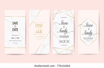 Wedding card template with marble