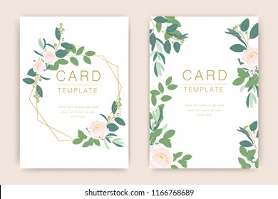 Wedding Card Template With Romantic Greenery, Eucalyptus, Woodsy ,Dusty Pink Wreath and luxury gold Vector illustration.