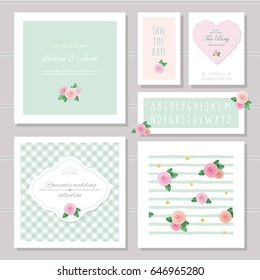 Wedding card templates set. Decorated with roses. Invitation, save the date. Pastel pink and green. Romantic collection, included frames, patterns, narrow hand written alphabet.